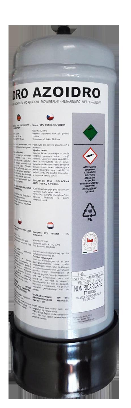 Botella de Nitrógeno/Hidrógeno 2,2L.